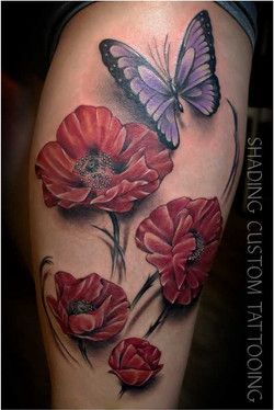 Tattoo - Tatoeage kleur 3d klaproos