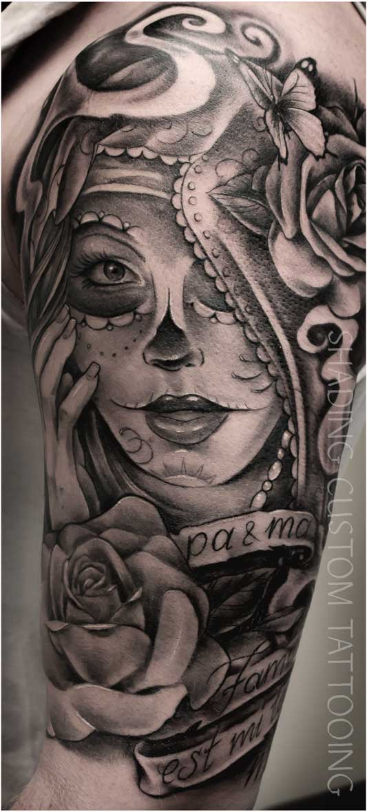 Tattoo tatoeage muerta black & grey