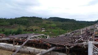 Casas ficaram completamente destruídas pelo temporal no interior de Maratá