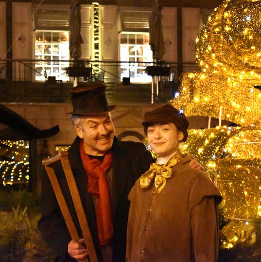Ebenezer Scrooge (Mark Ellis) and Tiny Tim Cratchit (Lucy Ellis)