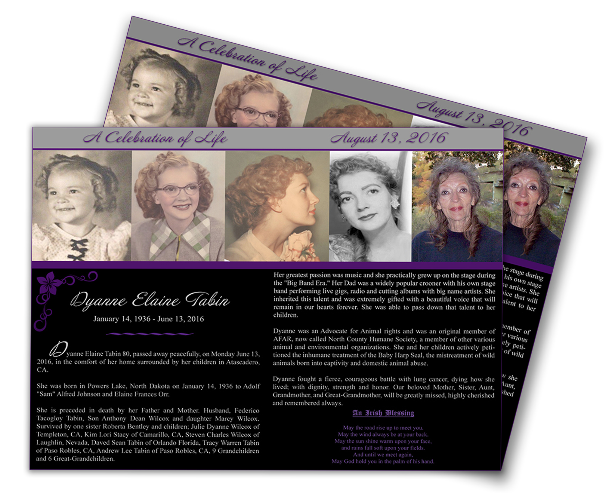 Dyanne Tabin Memorial Card