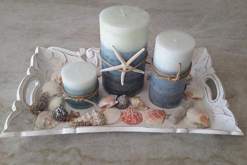 Coastal Beach Candle Theme Tray