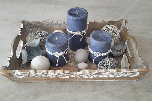 Blue Hygrangeas Candle Tray with Potpourri