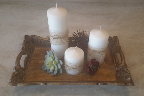 Succulents Candle Theme Tray