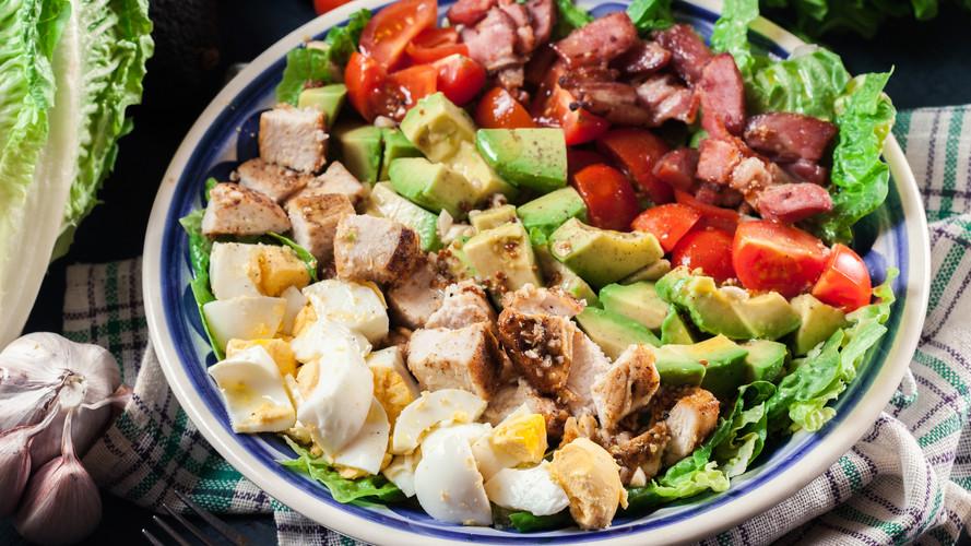 Salad with Egg, Bacon, Avocado, Tomato