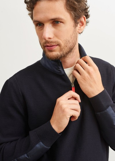 Men's SAINT JAMES Navy Half Zip Knitted