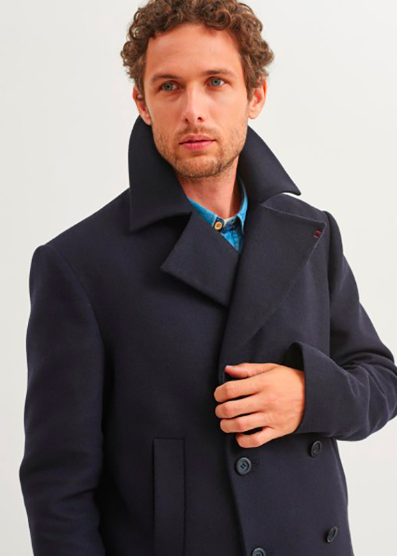 Men's SAINT JAMES Navy Wool-Blend Peacoa