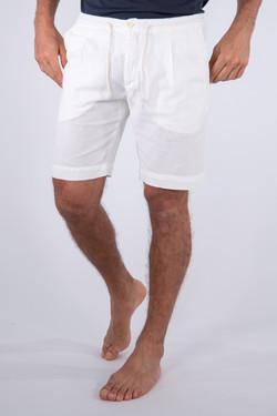 Bermuda in lino e cotone Off White