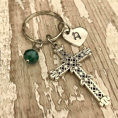 Birthstone Keyring with Initial & Cross Charm