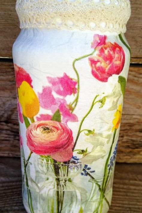 Floral Decoupage Jars