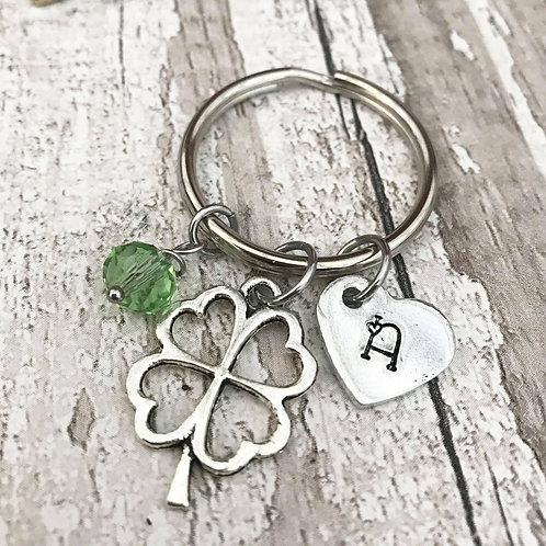 Birthstone Keyring with Initial & Four Leaf Clover/Shamrock Charm