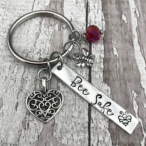 Bee Safe Hand Stamped Key Ring