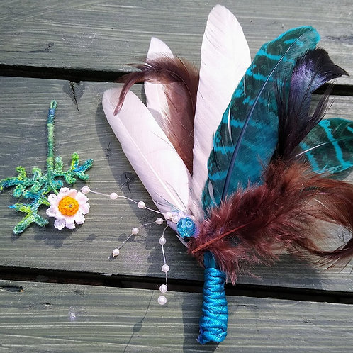 Turquoise Feather Boutonniere