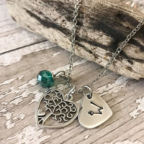 Birthstone Necklace with Initial & Tree of Life Charm