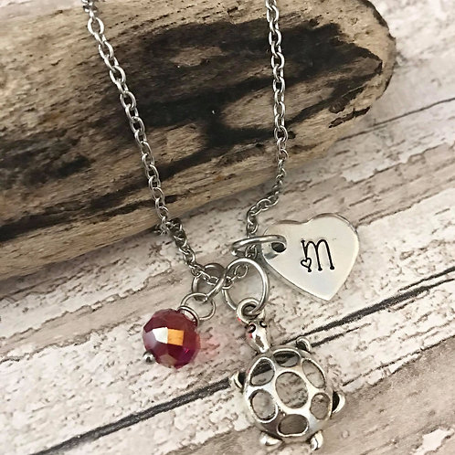 Birthstone Necklace with Initial & Turtle/Tortoise Charm