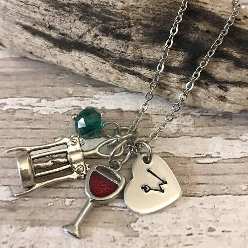 Birthstone Necklace with Initial & Wine Glass & Corkscrew Charms