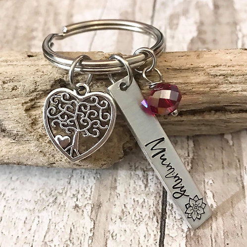 Birthstone Keyring with Name Tag & Tree of Life Charm