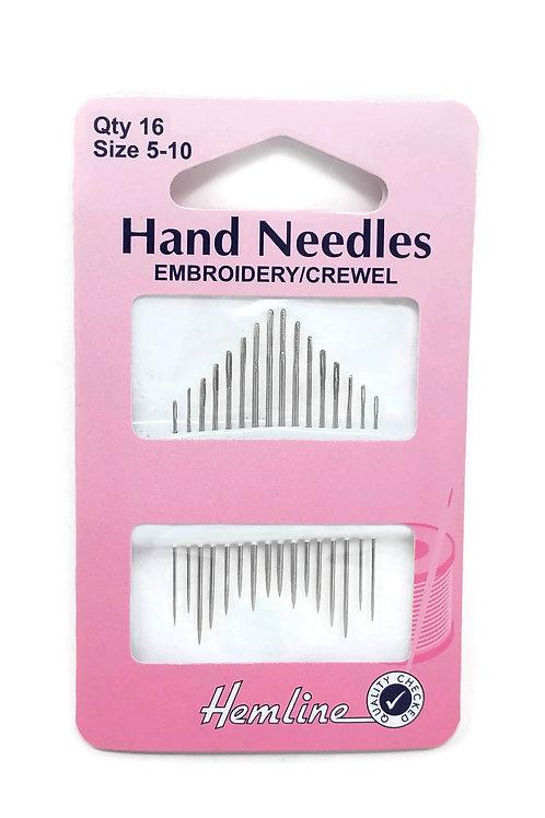 Hemline Hand Needles Size 5-10