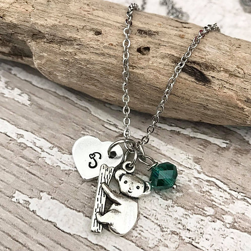 Birthstone Necklace with Initial & Koala Charm