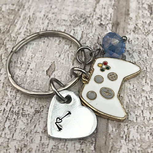Birthstone Keyring with Initial & Game Control Charm