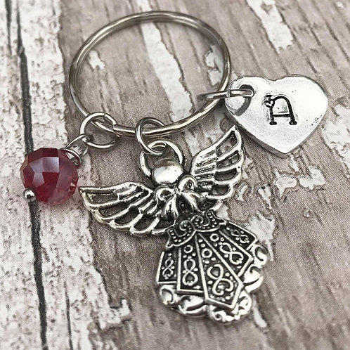 Birthstone Keyring with Initial & Guardian Angel Charm