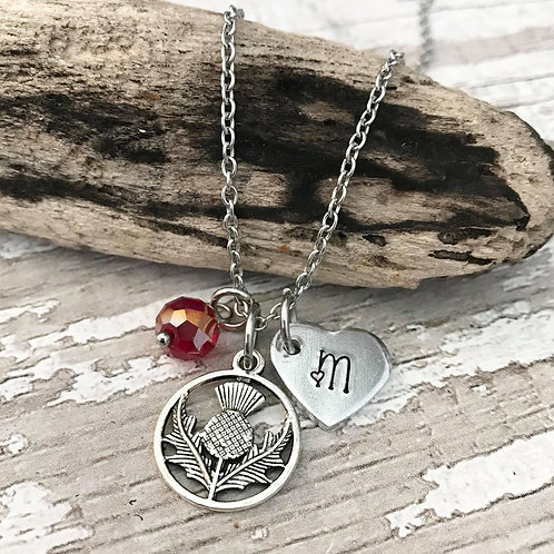 Birthstone Necklace with Initial & Scottish Thistle Charm