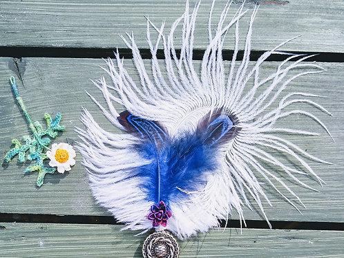 Blue Ostrich Boutonniere