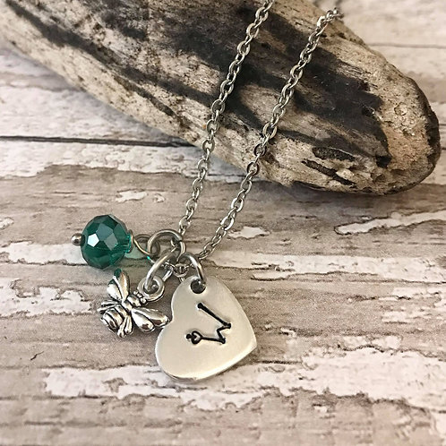 Birthstone Necklace with Initial & Bee Charm