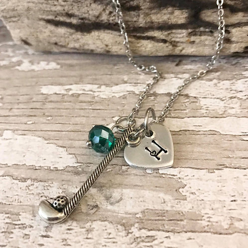 Birthstone Necklace with Initial & Golf Club Charm