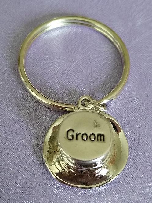Groom Top Hat Keyring
