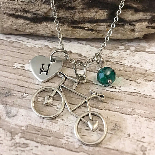 Birthstone Necklace with Initial & Bicycle Charm