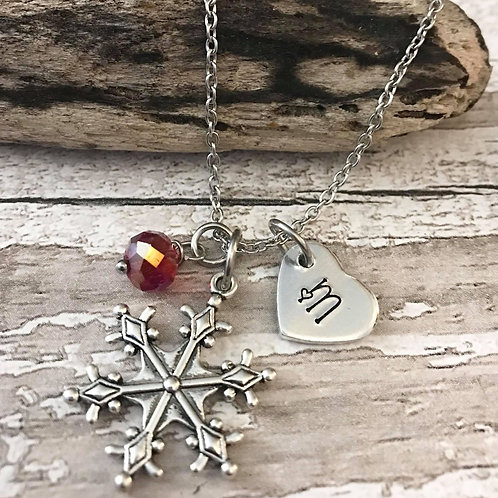 Birthstone Necklace with Initial & Snowflake Charm