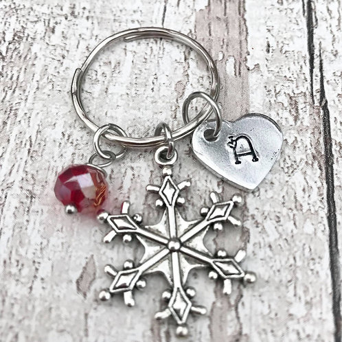 Birthstone Keyring with Initial & Snowflake Charm
