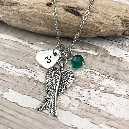 Birthstone Keyring with Initial & Angel Wings Charm