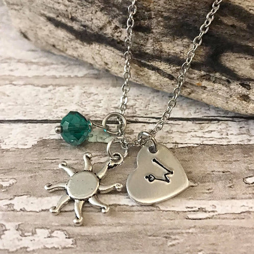 Birthstone Necklace with Initial & Sun Charm