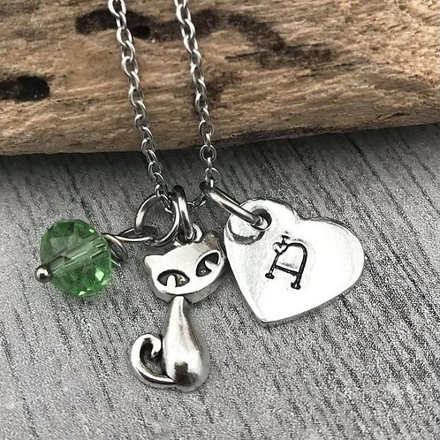 Birthstone Necklace with Initial & Cat Charm