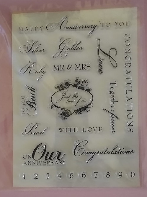 Card Making Rubber Stamps - Anniversary