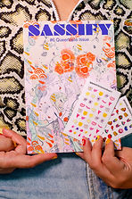 A copy of sassify magazine with two sheets of gayze nail decals