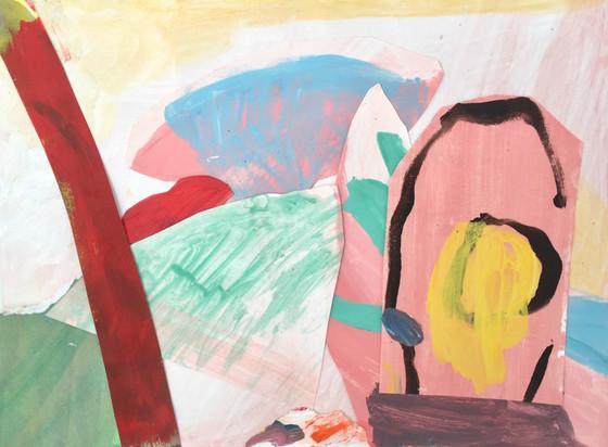 Miami Visit, 9x12, collage paper: acryli
