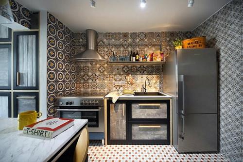 Làm đẹp phòng bếp với gạch bông ốp tường độc đáo