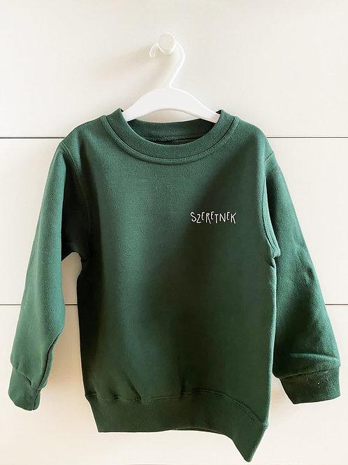 """SZERETNEK """"Az a jó zöld"""" gyerek pulcsi"""