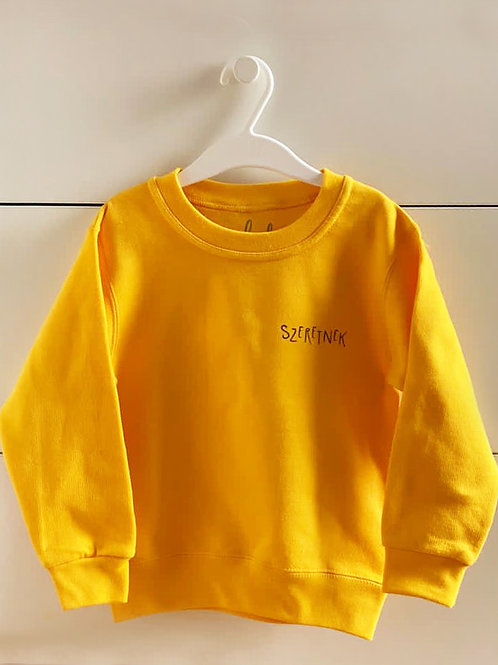 """SZERETNEK """"Az a jó sárga"""" gyerek pulcsi"""