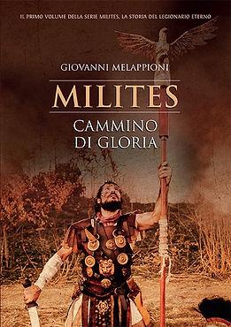 Centurione romano ferito che sorregge l'aquila della legione. Copertina del romanzo Milites Cammino di gloria