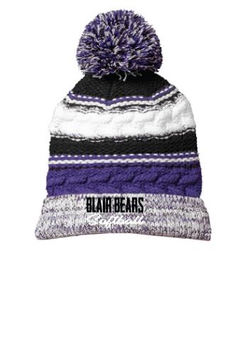 Item 16: Pom Pom Beanie | Purple/White/Black