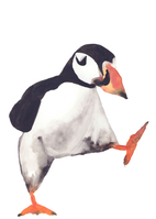 Watercolor Puffin