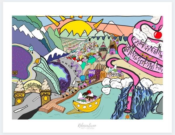 Ice Cream Town Postcard
