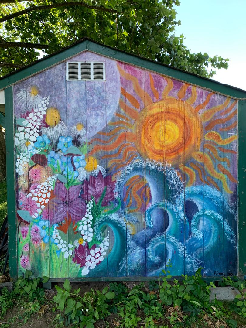 """RebeccaSwan Shed Mural """"Elements"""".jpg"""