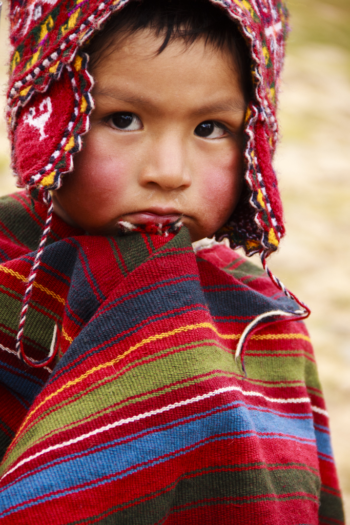 Child in Peruvian alpaca hat.