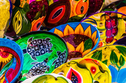 COlorful pottery at Mexican Market.