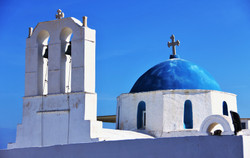 Blue domes of Santorini.
